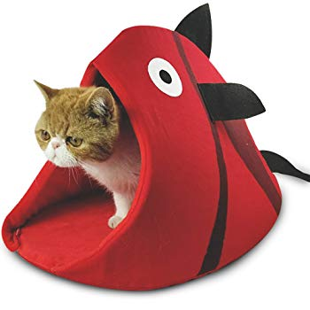 Fish Shaped Cave Cat Bed In Red Color