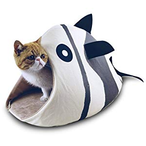 Stripes Beige Cotton Fish Shaped Kitty Bed